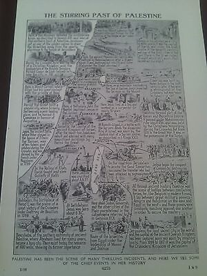 1924 Map of Events in History of Isreal Palestine 1 Small Page to Frame?