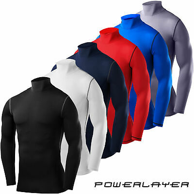Mens Boys Body Armour Compression Mock Neck Baselayers Thermal Under Shirt Top