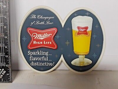 Vintage Cold Miller High Life Beer Plastic Sign -Sparkling Flavorful Distinctive