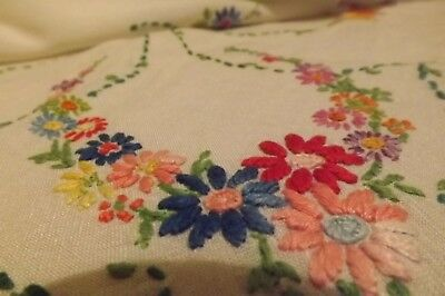 "VINTAGE NEEDLEWORK HAND EMBROIDERED FLORAL TABLECLOTH - COTTAGE FLOWERS 40"" sq"