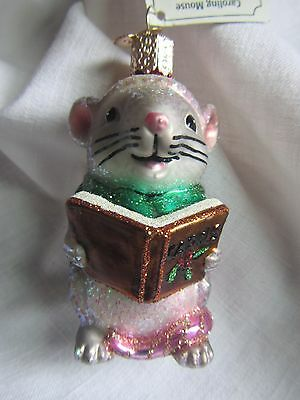Old World Christmas Caroling Mouse Blown Glass Christmas Tree Ornament