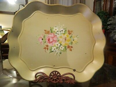 Vintage Toleware Cream Gold Trim Metal Hand Painted Floral Tray Platter Nashco