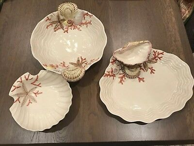 fitz and floyd Oceana Coral And Seashells Serving Platters