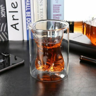 Unique Double Layer 150ml Naked Male Body Muscle Glass Cup Drinking Mug OI