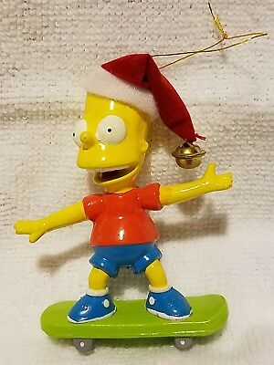 The Simpsons Holiday Christmas Hanging Ornament Bart On Skateboard Mint
