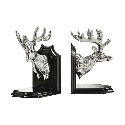 Stag Head Bookends Beautifully Styled Metallic Nickel Finish Robust Metal Stylis