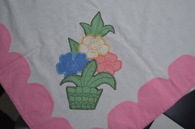 Vintage Applique Embroidered FLOWER BASKET Luncheon Tea Tablecloth Handmade