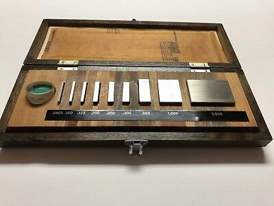 "MITUTOYO 9pc GAUGE BLOCK SET 516-930 GRADE A+. 0625"" to 2"" with optical flat  IC"