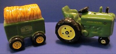 John Deere Tractor Pulling Wagon with Hay Bale Salt and Pepper Shaker Set