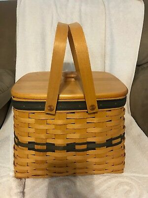 LONGABERGER 1998 Harbor Basket Collector's Club Lid, Protector Combo