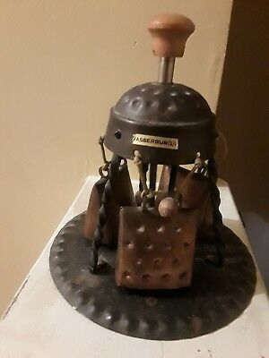 Metal Cow Bells with wooden Top and metal plate Antique Made in Germany Vintage