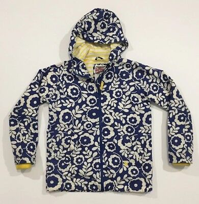 Mini Boden Girls Jacket 11-12 Jersey Lined Anorak Blue White Floral