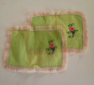 Set of 1920s Apple Green Hand  Embroidered Voile Boudior Doilies