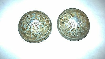 SET OF (2) old vintage Polish WWII military pewter buttons