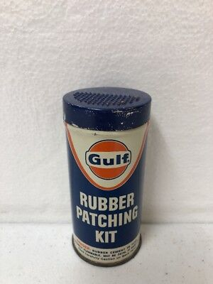 Vintage Gulf Oil Rubber Patching Kit Advertising Tin W/Contents