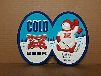 Vintage Cold Miller High Life Beer Plastic Sign - Snowman Christmas