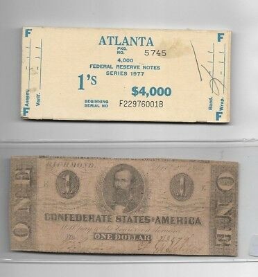 "$1 (Confederate Note) Nice! 1800's $1 (Free $1 Money Top Of $4000) !! ""rare"" !!!"
