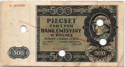 Poland 500 Zlotych 1940 Used Canceled Banknote - b88