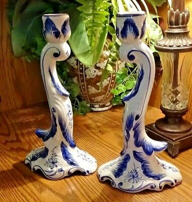Pair Vintage Rccl Hand Painted Ceramic Flowing Taper Candle Holders Made In Port