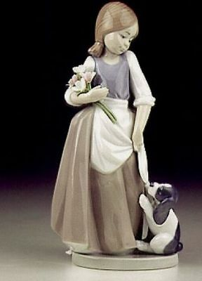 Nao Porcelain 'How about Me' Figure No.11004 ~ Girl with Puppy & Flowers LLadro