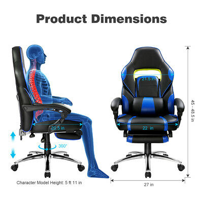 Faux Leather Office Racing Sport Gaming Style Tilt Computer Desk Chair Footrest