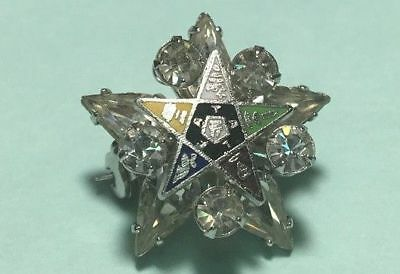 OES- Order of the Eastern Star -Small Rhinestone Brooch -Lapel Pin