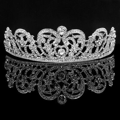 6cm High Silver Heart Crystal Crown Wedding Bridal Party Pageant Prom Tiara