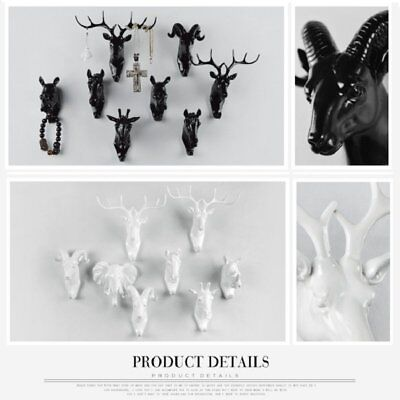 Animal Deer Stags Head Hook Wall Door Hanger Rack Holder Resin Home Decoration