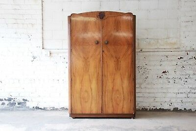 French Art Deco Style Burl Wood Armoire Dresser by Austinsuite
