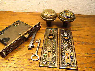 "Old Brass ?? Bronze ? Eastlake ?? "" Ceylon ? Door Lockset..."" As Found "" Ornate"