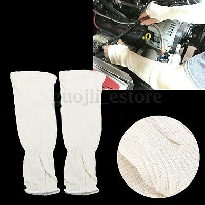 1Pair 33cm White Mechanic Arm Sleeves 33cm Heat protection PPE Leather Welding