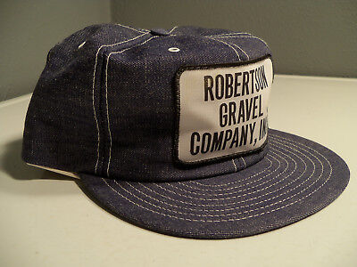 Vtg Blue Denim LOUISVILLE Mfg USA Rare Gravel Co. NOS Trucker Patch Snapback Hat