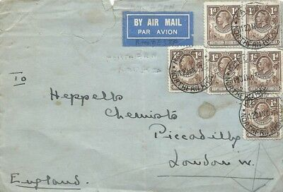 1935 Kalomo Northern Rhodesia airmail cover toPiccadilly