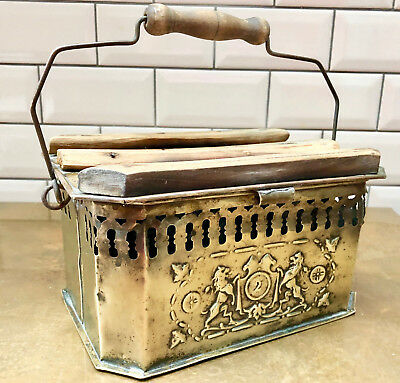 Antique French Brass Foot Warmer With Crest On Both Sides & Wooden Handle