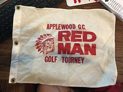 Vintage RED MAN Golf Pin Flag - Applewood Golf Course - Omaha Nebraska