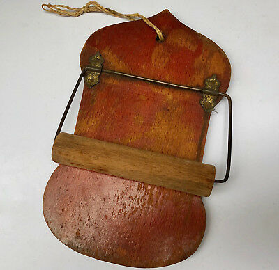ANTIQUE FRENCH 1800s WOODEN TOILET ROLL HOLDER FROM STORE, AUX DAMES DE FRANCE