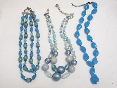 Vintage Blue Art Glass Beaded Necklace Lot of Three