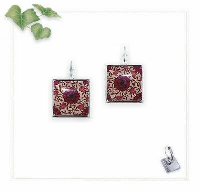 21mm Earrings Lever Backs - Square Silver Tone &  Red Black Floral - Glass