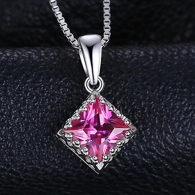 17mm Bright Pink Sapphire Diamond Necklace Pendant 925 Solid Sterling Silver