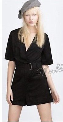 5ddac6ff4732 ZARA BLACK SUEDE Wrap Playsuit With Ring Belt And Pockets Size S ...