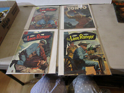 DELL 10c LONE RANGER & TONTO COMICS - LOT OF 4 FROM 1950s