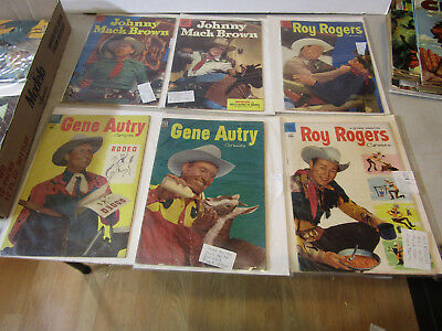 DELL 10c  COWBOY WESTERN COMICS - LOT OF 6 FROM 1950s AUTRY BROWN ROGERS