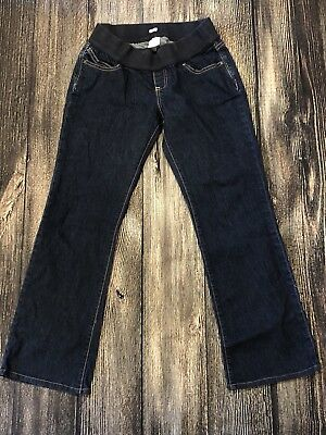 Old Navy Maternity Jeans Dark Wash Bootcut Stretch Low Belly Band Size 4