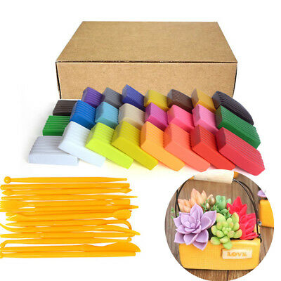 24 Colors DIY Craft Malleable Fimo Polymer Modelling Clay Block Set + 14x Tools