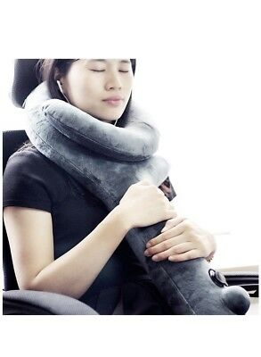 Travel Pillow Super Sleeping Hold, Neck Chin Support- Soft Velvet, Inflatable