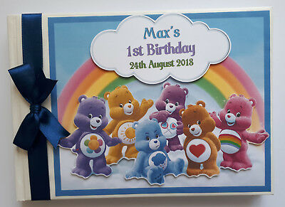 Personalised Care Bears Boy / Girl Birthday Guest Book - Any Design
