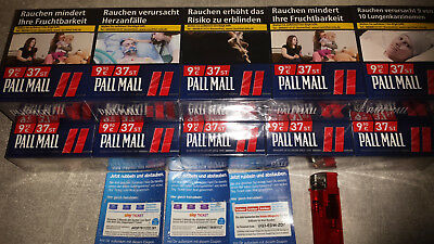 2 Stange Pall Mall Red Zigaretten XXXL+sky ticket  Serie und Kicker