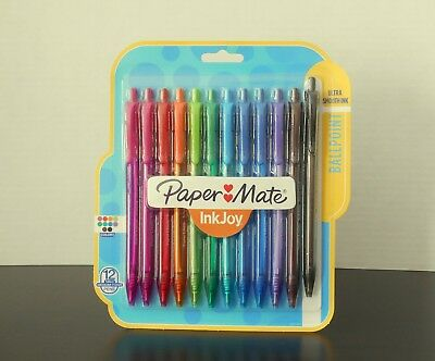 Paper Mate Inkjoy Retractable Ballpoint Pens - 12 Pack Assorted Ink Colors