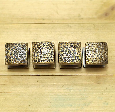 Lot of 4 pcs Vintage Solid Brass Cube STONE Cabinet Drawer Handle KNOB  Pulls
