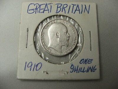 GREAT BRITAIN 1910 1 Shilling .925 Silver.1682 oz - King EDWARD VII - Very nice!